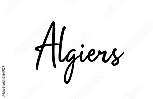 Photo Algiers capital word city typography hand written text modern calligraphy letter