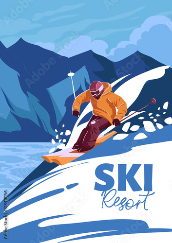 Cuadros en Lienzo Skier on mountains, freeride, ski resort. Vector illustration