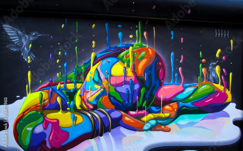 Wynwood Wall Painting -  Miami, Fl. Wallpaper Mural