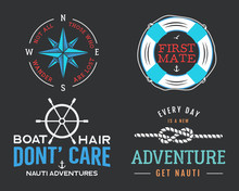 Nautical Vintage Prints Designs Set For T-shirts, Apparel. Marine Logos And Badges. Retro Typography With Lighthouse And Seagull. Navy Emblems, Sea And Ocean Style Tees Collection. Stock
