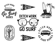 Vintage Summer Logos, Surfing Badges Set. Hand Drawn Labels Designs. Travel Expedition, Wanderlust And Hiking. Outdoor Emblems. Logotypes Collection. Stock Isolated On White
