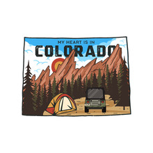Vintage Colorado Camp Badge With Tourist Attractions. Retro Style US State Patch Concept, Print For T-shirt And Other Uses. Included Quote Saying - My Heart Is In Colorado . Stock Isolated