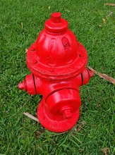 A Red Fire Hydrant On The Gree...