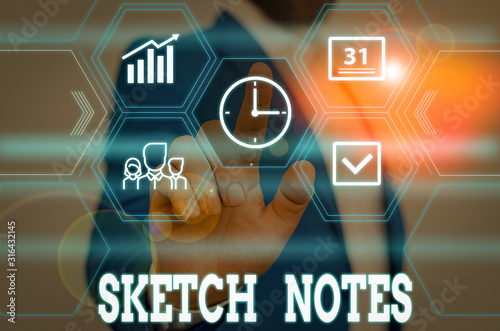 Obraz Writing note showing Sketch Notes. Business concept for visual notetaking Combination of notetaking and doodling Male wear formal work suit presenting presentation smart device - fototapety do salonu