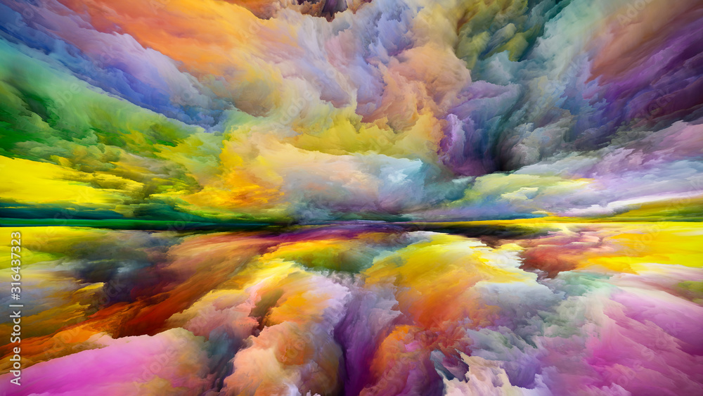Fototapeta Wirtualne niebo i ziemia - obraz na płótnie