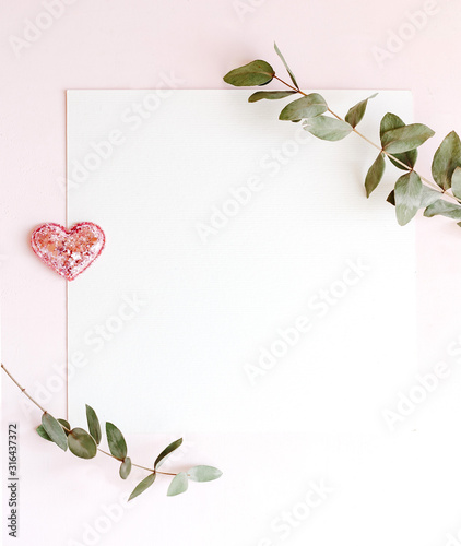 Background with copy space blank on pink background with pink glittered hearts, eucalyptus branch Canvas Print