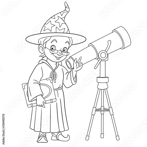 coloring page with wizard or astronomer with telescope Canvas Print