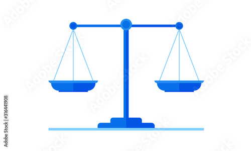 Justice Balance Scales Flat Illustration Canvas Print