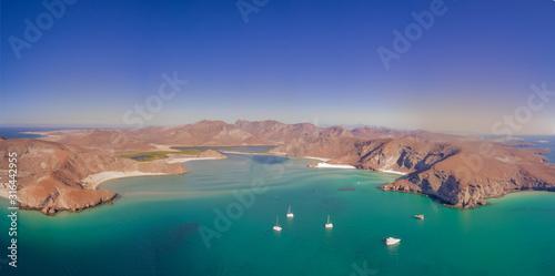 Drone aerial Panorama of Balandra Beach Baja California/Mexico