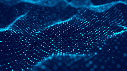 Wave of particles. Abstract blue background with a dynamic wave. Big data visualization. 3d rendering.