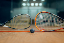 Two Squash Rackets And Ball, Game Concept