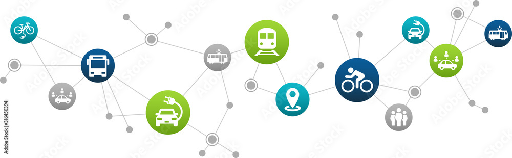 Fototapeta sustainable mobility or transport vector illustration. Abstract concept with connected icons that show aspects of green alternatives like public transport, e-cars or biking.