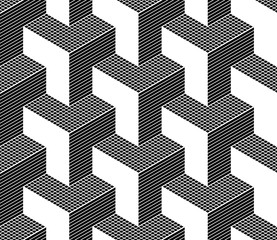Seamless isometric pattern. 3D illusion.