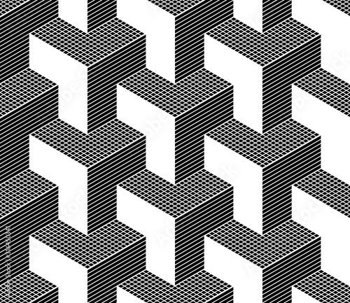 Seamless isometric pattern. 3D illusion.