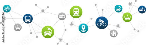 Fototapeta sustainable mobility or transport vector illustration. Abstract concept with connected icons that show aspects of green alternatives like public transport, e-cars or biking. obraz