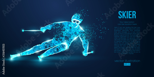 Fotografía Abstract silhouette of a skier jumping from particles on blue background