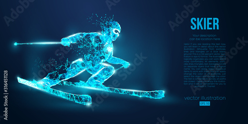 Cuadros en Lienzo  Abstract silhouette of a skier jumping from particles on blue background