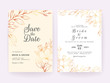 Set of cards with lineart floral decoration. Wedding invitation template design of luxury gold flowers and leaves. Floral illustration decoration for save the date, event, cover, poster vector