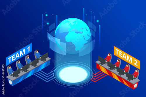 Photo Isometric Cybersports competition