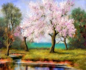 Panel Szklany Drzewa Digital paintings spring landscape, tree in bloom