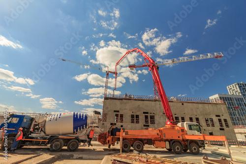 concrete pump building under construction Poster Mural XXL