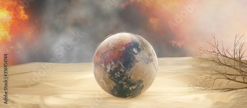 desert and planet earth 3d-illustration sand design Canvas Print