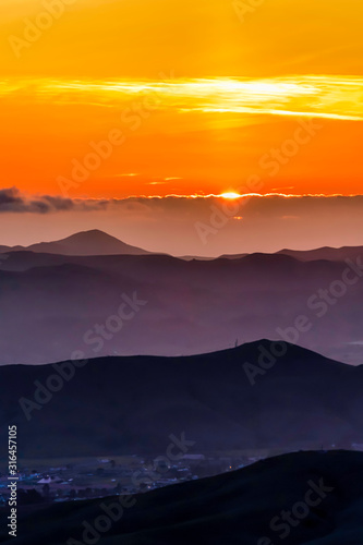 Layers of Mountains at Sunset