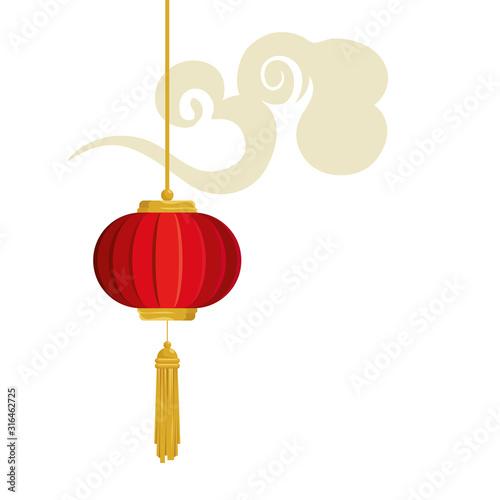 Fototapeta lantern chinese hanging with cloud isolated icon vector illustration design obraz