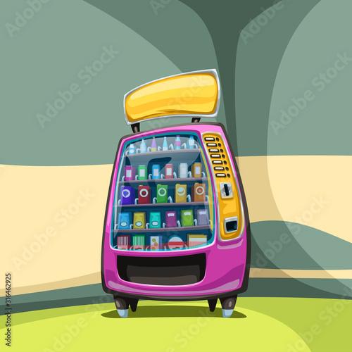 Fototapeta vending machine in colorful corner obraz