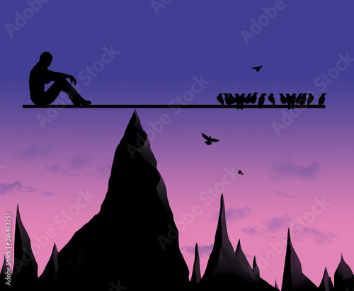 A man awaits the inevitable as a flock of birds keeps him balanced on a board above dangerous sharp rock formations below Canvas Print