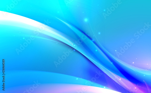 Abstract blue wavy with blurred light curved lines background Canvas Print