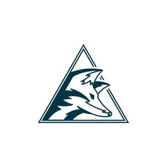 simple fox or wolf on triangle logo