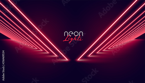 Fotografia perspective neon red lights pathway background design