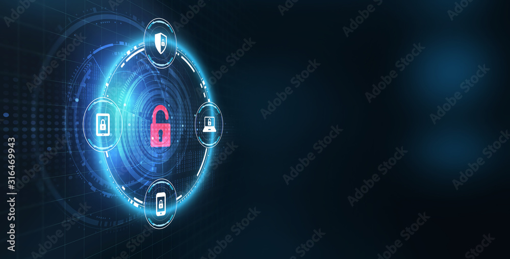 Fototapeta     Cyber security data protection business technology privacy concept. Icon security on the virtual display.