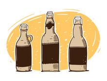 Craft Beer Bottle Set. Hand Dr...