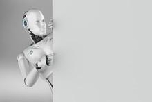 Female Cyborg With Empty Board