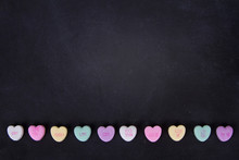 Conversation Hearts On A Black...
