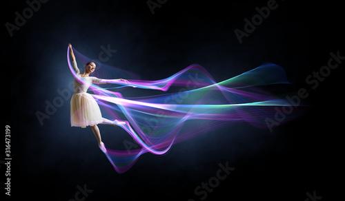 Fotografia, Obraz Ballet dancer in jump . Mixed media