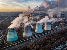 An Aerial Photo Taken With A Drone  Shows Thermal Power Station In Biryulevo District In Moscow