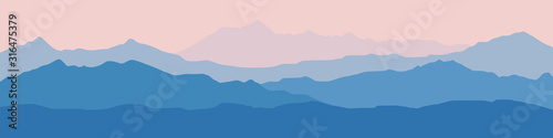 Fototapeta Fantasy on the theme of the morning landscape, sunrise in the mountains, panoramic view, vector illustration obraz