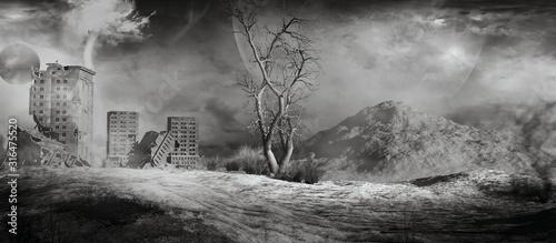 фотография City ruins on a wasteland