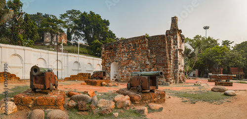 Surviving gate of the A Famosa fort in Malacca, Malaysia. Panorama #316479930