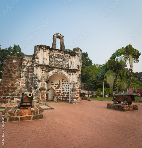 Surviving gate of the A Famosa fort in Malacca, Malaysia #316479933