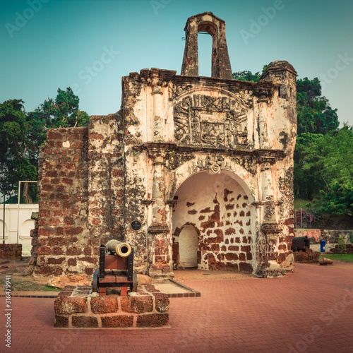 Surviving gate of the A Famosa fort in Malacca, Malaysia #316479941