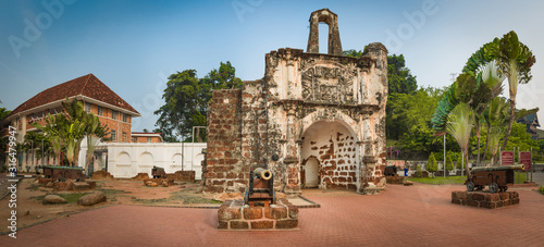 Surviving gate of the A Famosa fort in Malacca, Malaysia. Panorama #316479947