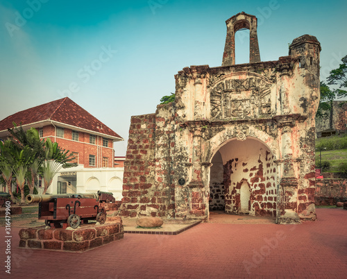Surviving gate of the A Famosa fort in Malacca, Malaysia #316479960