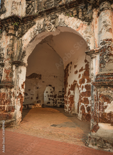 Surviving gate of the A Famosa fort in Malacca, Malaysia #316479962