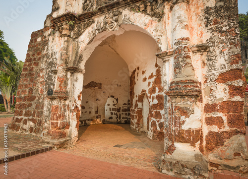 Surviving gate of the A Famosa fort in Malacca, Malaysia #316479963