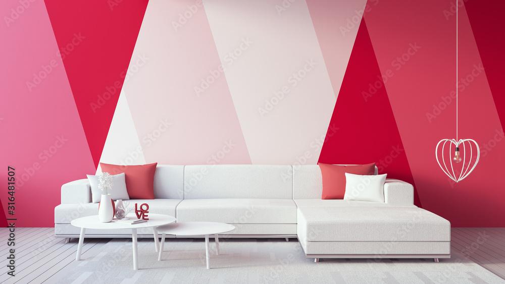 Fototapeta Valentine interior - Pink Red Rose Magenta Blush color Living room / 3D render interior
