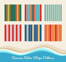 Set Of 6 Summer Retro Striped ...